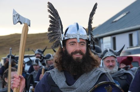 Nesting and Girlsta guizer jarl Ryan Leask. Photo: Hans J Marter/Shetland News