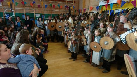 There was some good singing when the jarl squad visited Urafirth primary school on Friday morning. Photo: Kevin Osborne