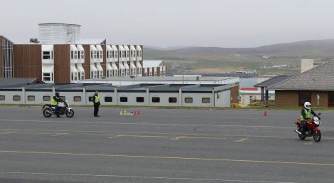 Motorcycle and large good vehicles training and testing on the old Anderson High School car park is to cease by the end of this month. Photo: Shetland Motorbike Training