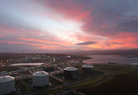 Sunrise over Sullom Voe terminal now operated by EnQuest. Photo: Courtesy of BP