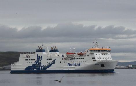 The Hrossey leaving Lerwick. Photo: Hans J Marter/Shetland News