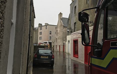 Two fire engines from Lerwick attended the scene at Commercial Street on Tuesday morning. Photo: Shetland News