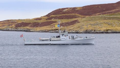 The restored sub-chaser Hitra arriving at Scalloway harbour on Friday morning. Photo: Chris Brown