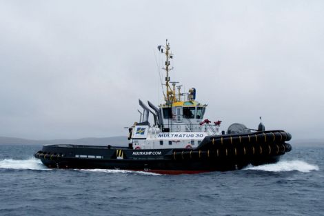 Multratug 30 arriving in Shetland back in March. Photo courtesy of Shetland Islands Council.