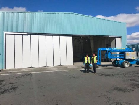 Work on installing the new hangar door is almost complete. Photo courtesy of Shetland Islands Council.
