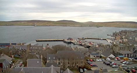 A view of Lerwick Harbour and Bressay from one of the webcams on Friday morning.