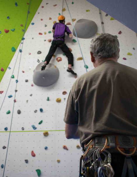 The climbing wall in use. Photos: Kevin Learmonth