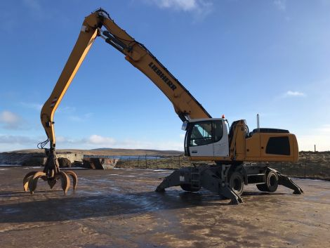 A material handler at John Lawrie Group's Rova Head base. Photo: Shetland News