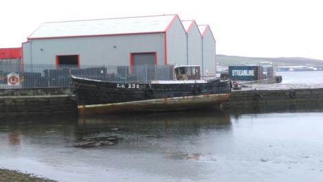 Marooned in disrepair: the Nil Desperandum at Hay's Dock. Photo: Shetland News