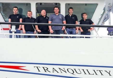 The Tranquility crew are (left to right): Robbie Jamieson, John Johnson, George Eunson, Chris Shearer, skipper Stuart Anderson and 2nd skipper David Reid.