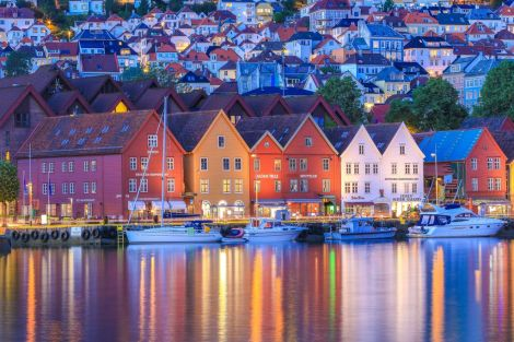 The famous Bryggen waterfront in the centre of Bergen. Photo: Bergen Reiselivslag / Girish Chouhan - visitBergen.com