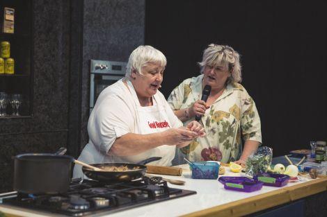 Last year's winner Susan Msalila alongside host Eunice Henderson.