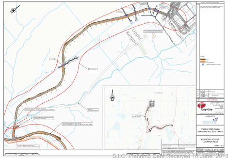 A location plan of the Kergord track upgrade.