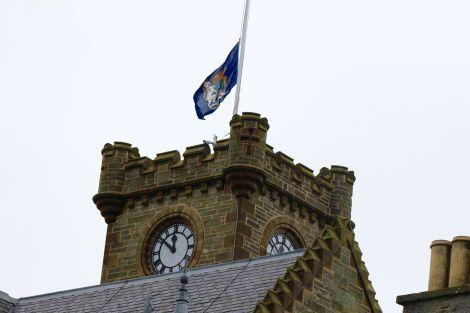 The Lerwick Town Hall flag on Monday. Photo: Shetland News