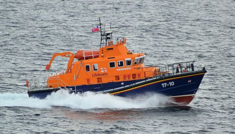 The Lerwick lifeboat on a previous shout. Photo: Mark Berry