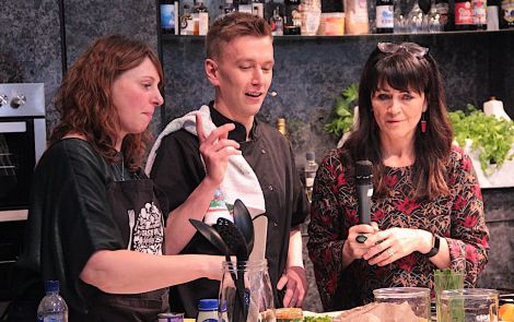 Compere Jane Moncrieff (right) in conversation with chef Jonathan Williamson and 'assistant' Marlene Hunter.